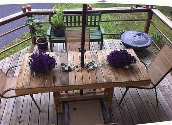 pallet table and chairs for patio