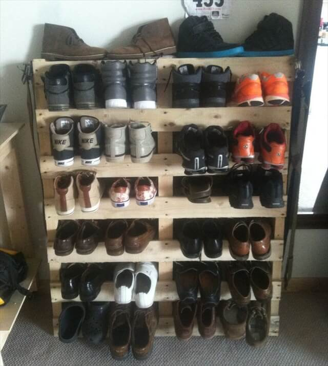 How to make a shoe rack out of a pallet