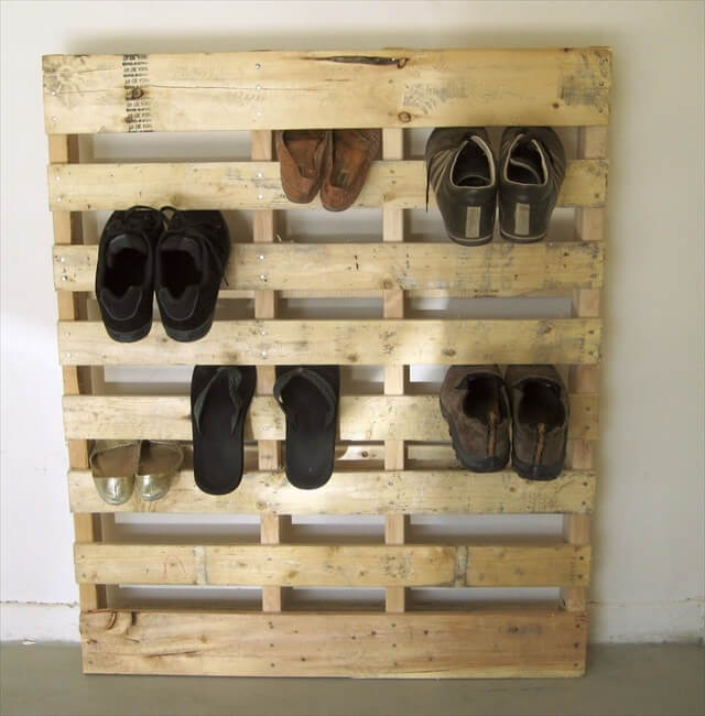 pallet wood redone to create a shoe rack pallet. Black Bedroom Furniture Sets. Home Design Ideas