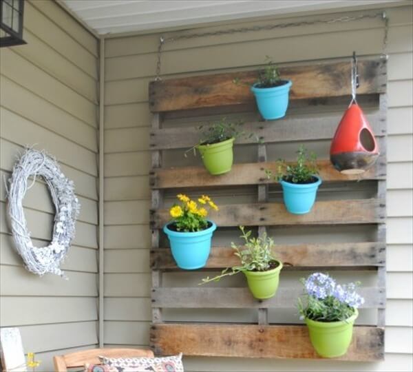 pallet vertical pots garden