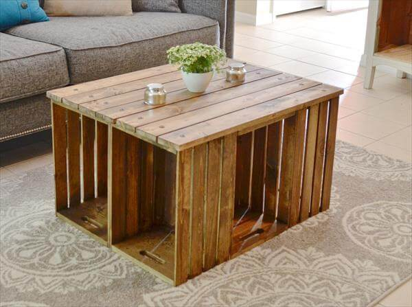 Diy wood crate coffee table discover woodworking projects Wooden crates furniture