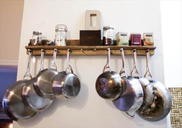 Pallet Kitchen Pot rack and Shelf