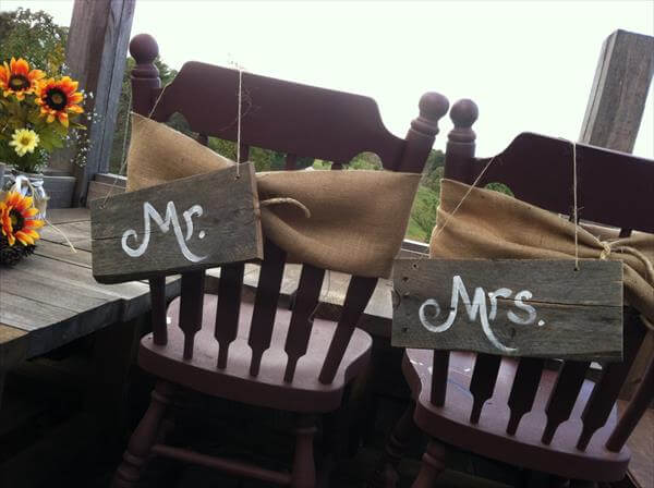 Pallet Mr and Mrs Chair Signs