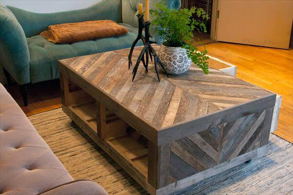 Pallet And Barn Wood Coffee Table With Storage Pallet