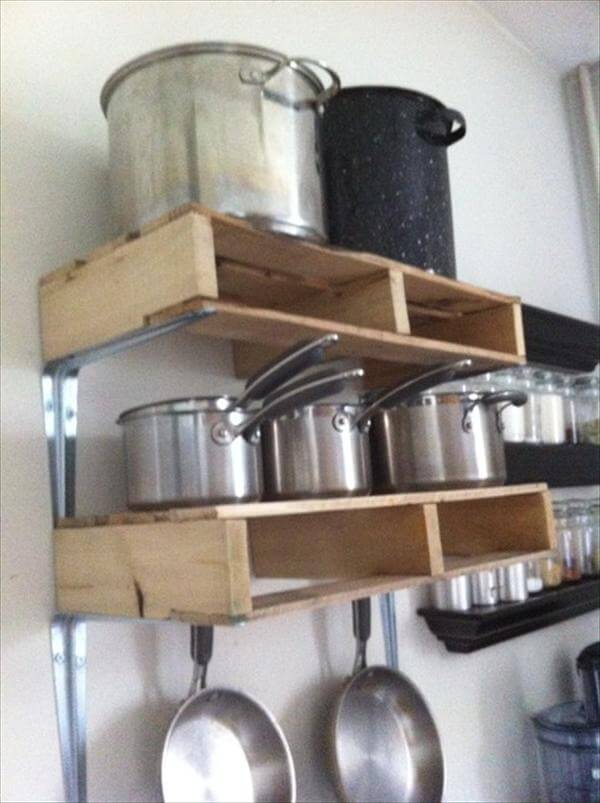 diy recycled pallet kitchen shelf
