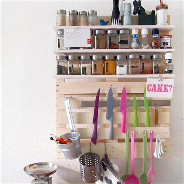 reclaimed pallet kitchen wall shelf