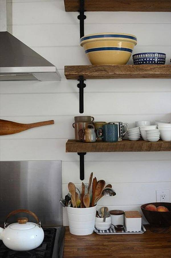 upcycled pallet kitchen shelf