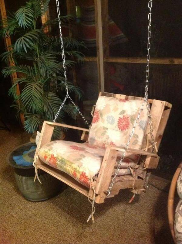 diy pallet swing chair