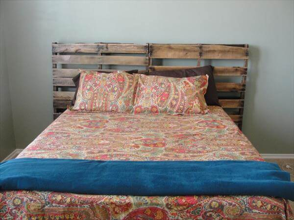 Diy pallet headboards project pallet furniture diy for How to make a headboard out of pallets
