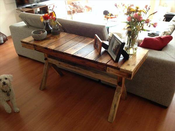 Diy most cautious pallet table ideas pallet furniture diy for Sofa table made from pallets