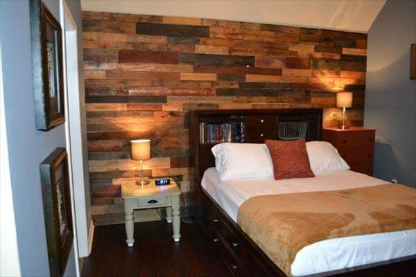 16 DIY Wood Pallet Wall Ideas | Pallet Furniture DIY on Pallet Bedroom Design  id=95994