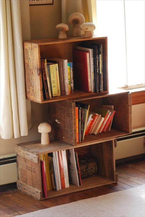 recycled crate bookcase