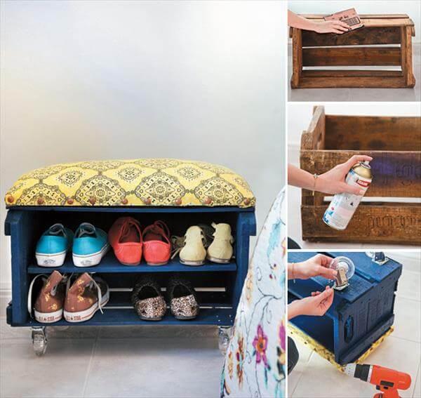 repurposed crate bench