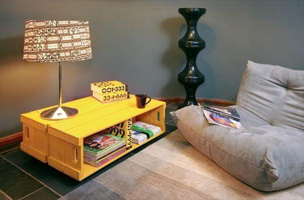 recycled crate table lamp