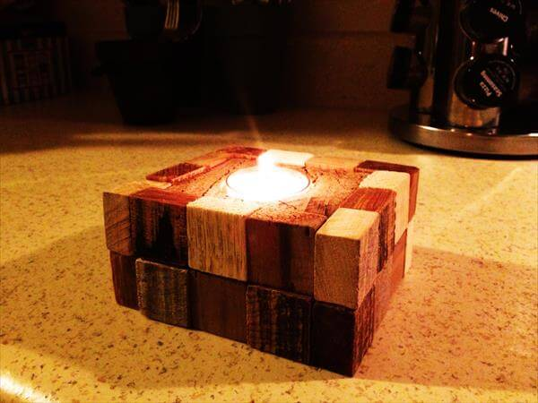 wooden pallet block candle holder