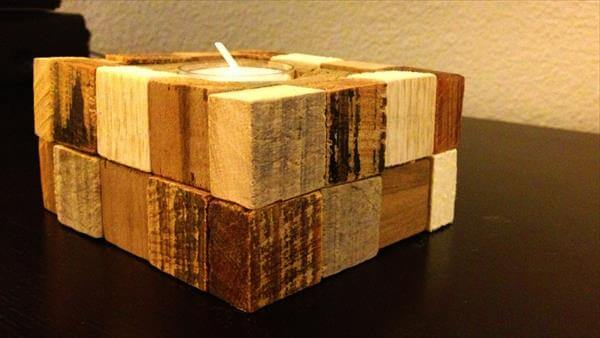 reclaimed pallet block candle holder