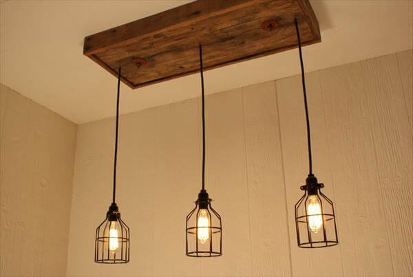 reclaimed pallet light chandelier