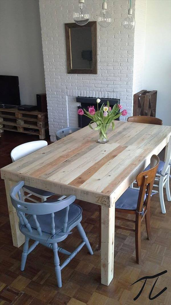 Diy pallet dining table pallet furniture diy - Fabriquer une table en bois de palette ...