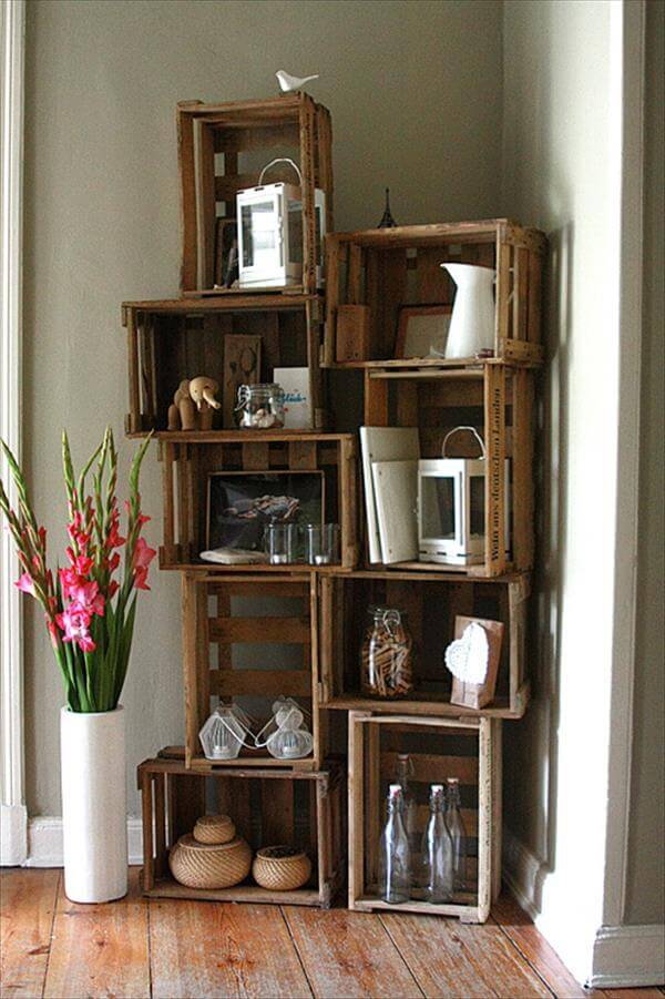 decorative shelf out of crate