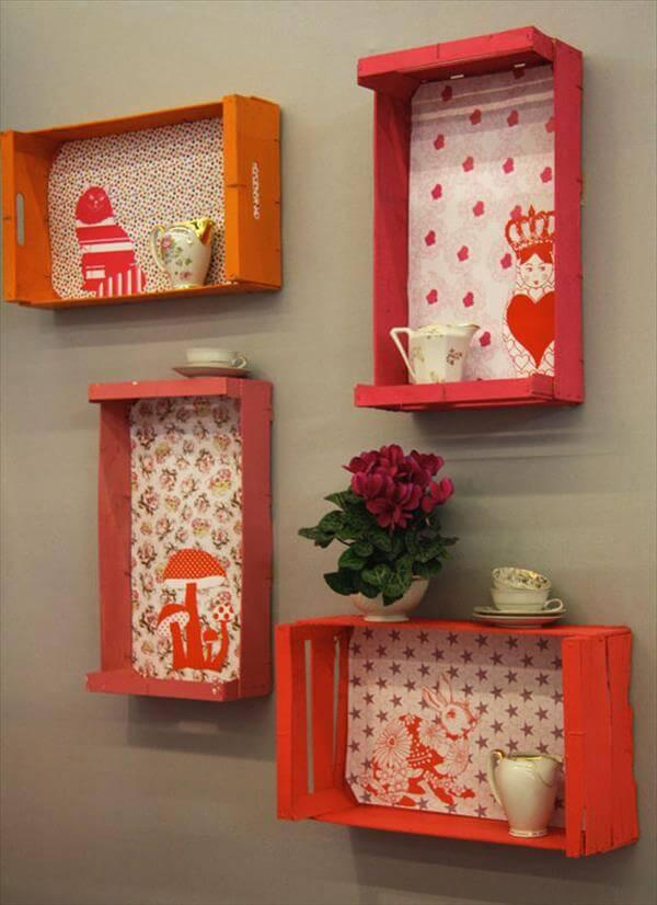 repurosed crate decorative wall