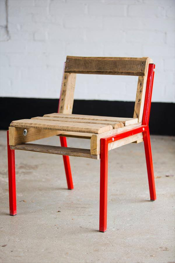 Diy Pallet Chair With Steel Legs Pallet Furniture Diy