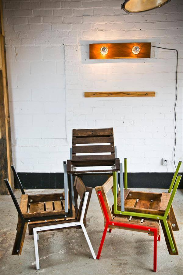 diy pallet chairs with steels legs