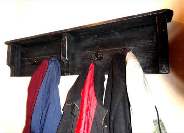 reprocessed pallet coat rack