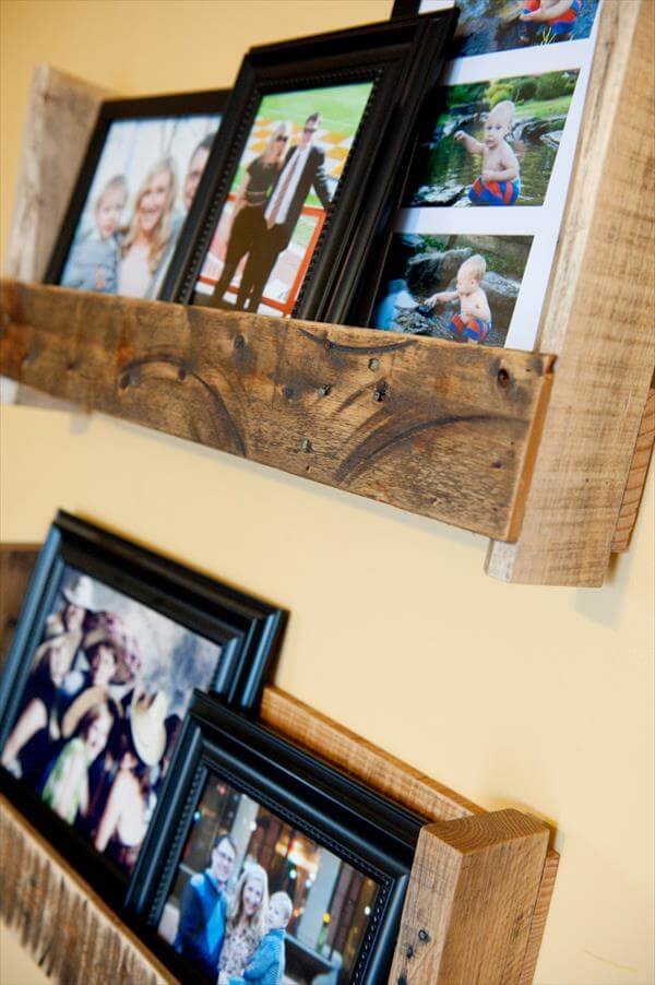 recycled pallet picture shelf