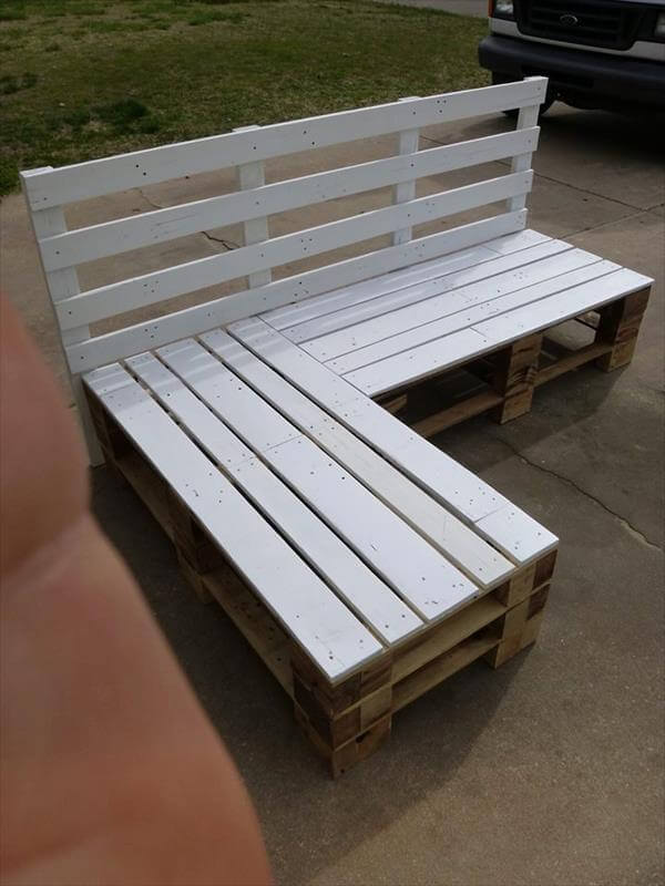 DIY Pallet Sectional Bench Pallet Furniture DIY