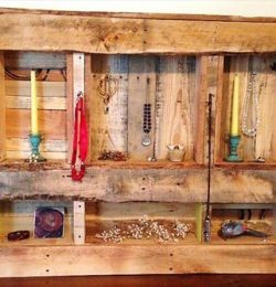 Pallet Jewelry Rack with Shelves