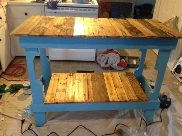 Kitchen Island Out Of Pallets rustic pallet furniture. diy rustic pallet wall mounted shelves
