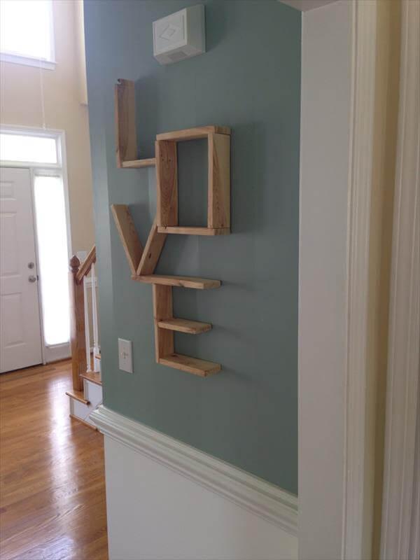 repurposed pallet wall love shelf