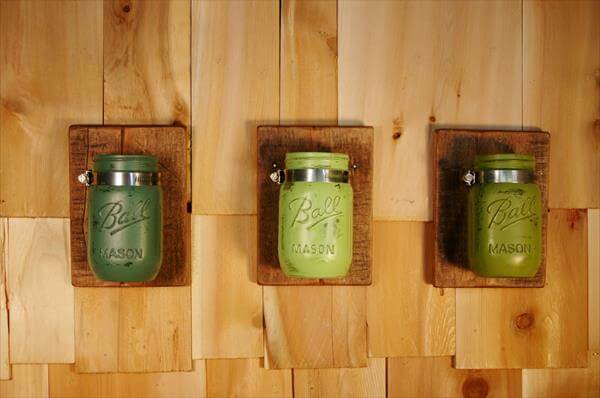 Mason Jar Wall Art diy pallet mason jars wall art | pallet furniture diy