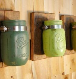recycled pallet mason jar rack