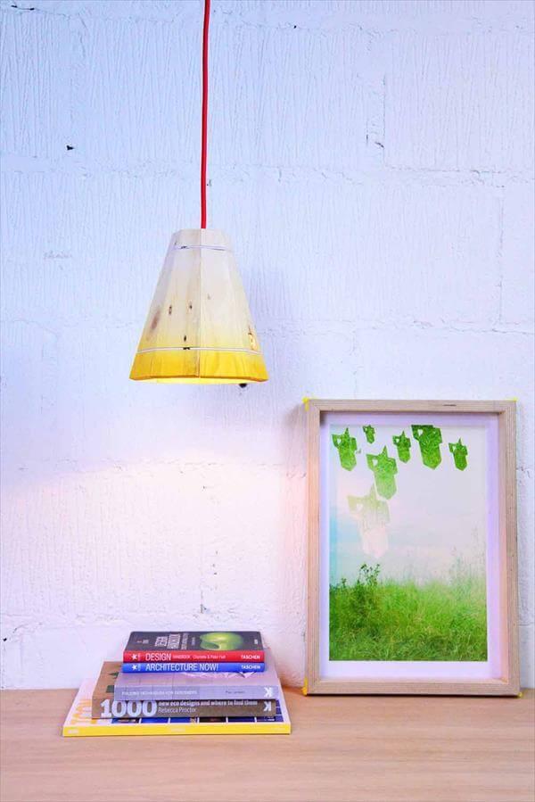 repurposed pallet pendant lamp