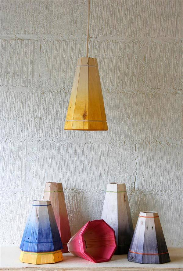 Diy colorful pallet pendant lamp shades pallet furniture diy for Diy pendant light