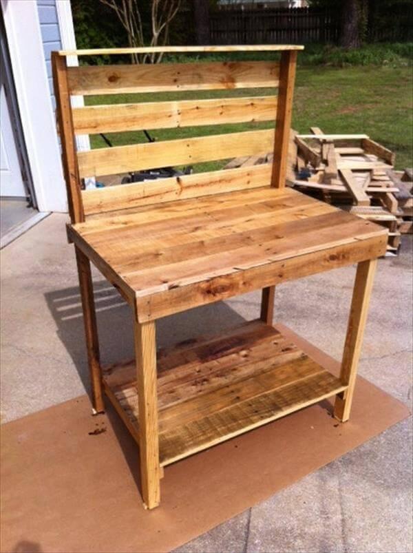 Diy Pallet Wood Potting Bench Pallet Furniture Diy