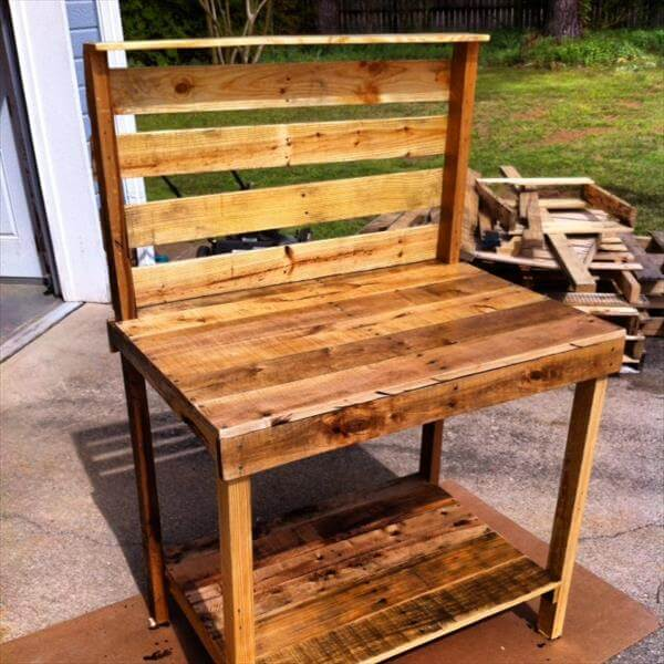 diy pallet potting bench