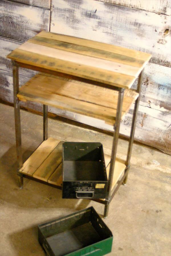 repurposed pallet steel side table