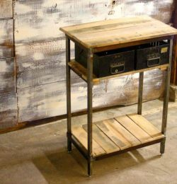 recycled pallet steel side table