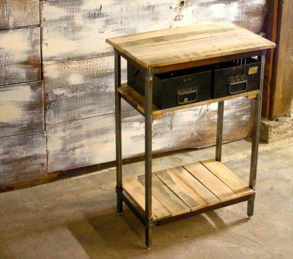 Diy Pallet Wood And Steel Side Table Pallet Furniture Diy