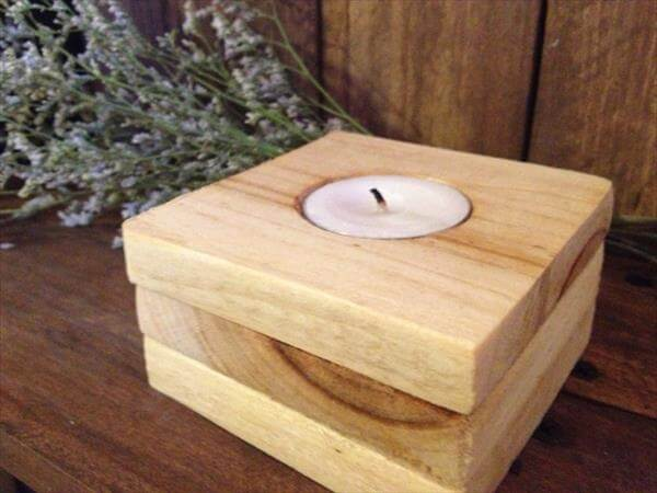 recycled pallet candle holder