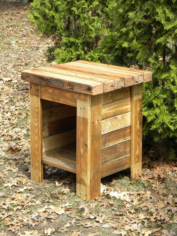 rustic pallet end table diy pallet country styled mini coffee table ...
