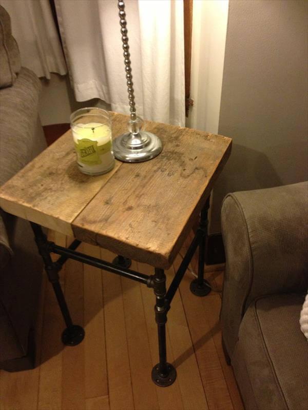 diy pallet industrial side table pallet furniture diy. Black Bedroom Furniture Sets. Home Design Ideas