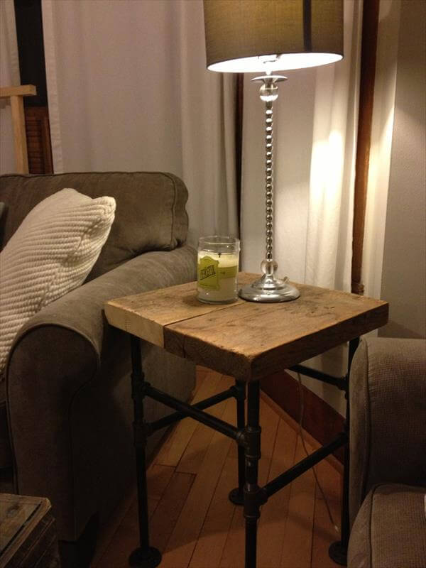 upcycled pallet industrial side table