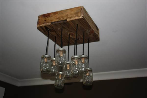 recycled pallet mason jar chandelier