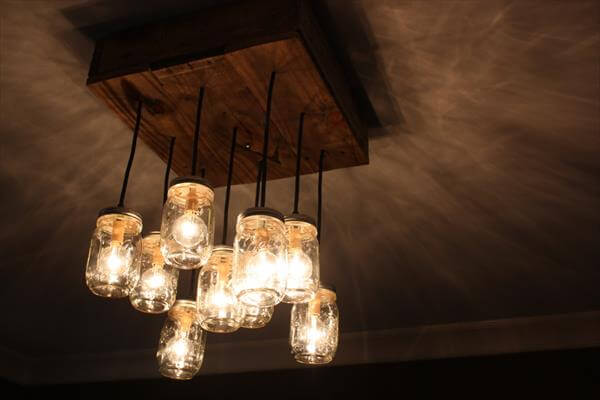 reclaimed pallet mason jar chandelier