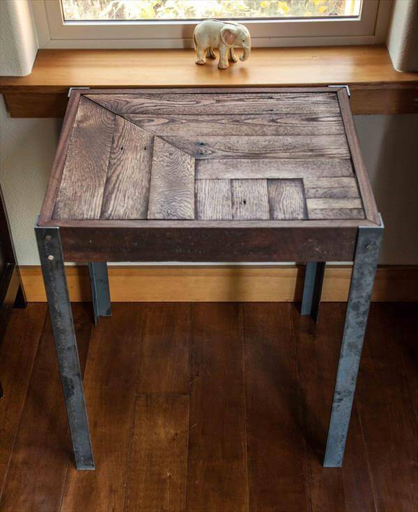 ... table metal legs pallet end tables pallet wood entry way table foyer