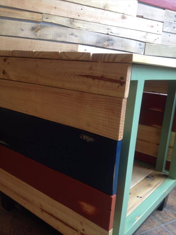 upcycled pallet colorful TV stand