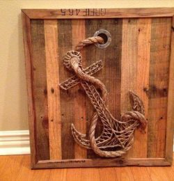 recycled pallet anchor string art